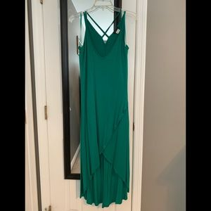 Emerald Green High/Low midi dress